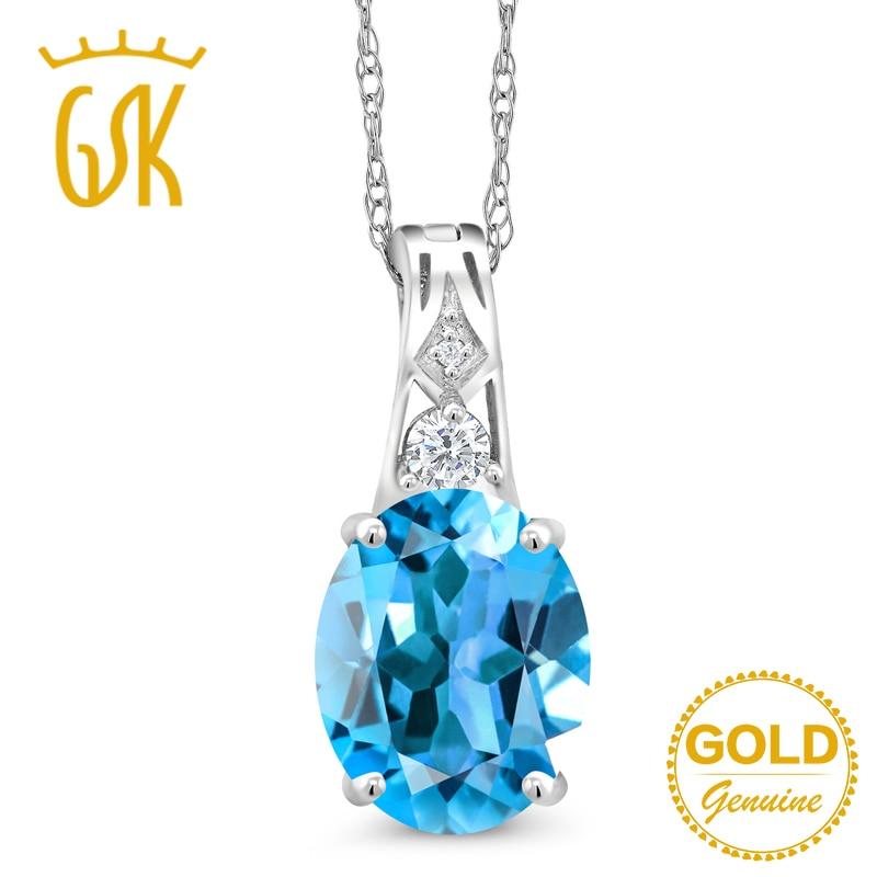 2 77 Ct Natural Blue Topaz Diamond Accent Pendant 10K White Gold